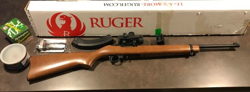 Ruger 10/22 w/ red dot scope and magazine for $300