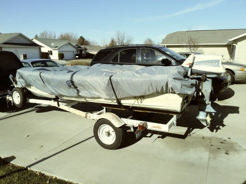 14 ft Alum Boat, Motor, Trailer, and Accessories