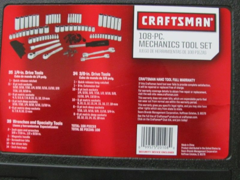 CRAFTSMAN 108 PIECE TOOL SET-NEW & SEALED~LIFETIME WARRANTY~$55