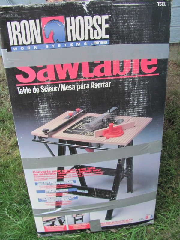 "BRAND NEW IRON HORSE SAW TABLE-20""D X 27""W X 36.5""H-$75"
