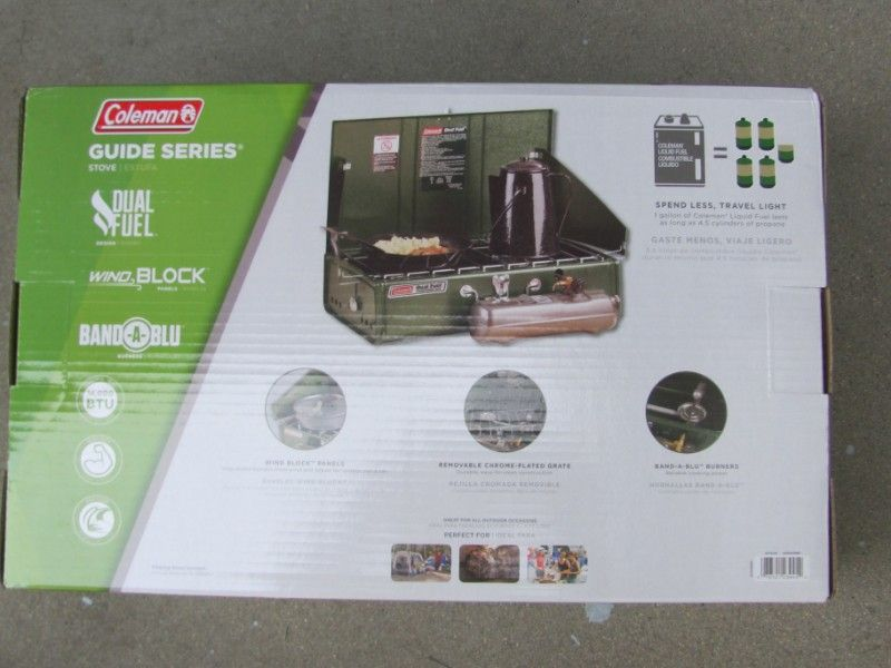 BRAND NEW!~ COLEMAN GUIDE SERIES 14,000 BTU DUAL FUEL CAMPING STOVE-IN BOX