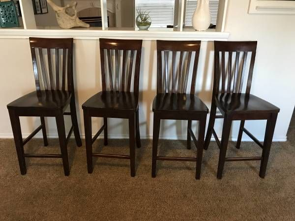 4 dark brown counter height dining room bar chairs